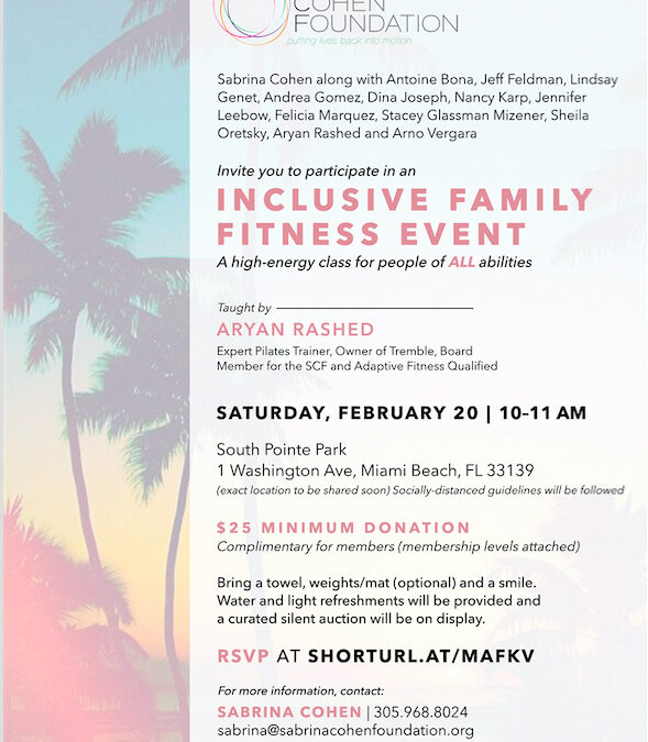 Inclusive Family Fitness Event in South Pointe Park on February 20th